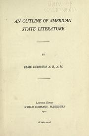 Cover of: An outline of American state literature