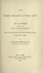 Cover of: The higher education a public duty