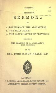 Cover of: Sermons on 1. portions on the Apocalypse, 2. the Holy Name, 3. the last chapter of proverbs