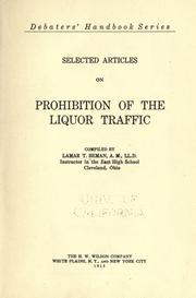Cover of: Selected articles on prohibition of the liquor traffic
