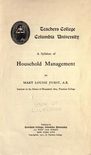 Cover of: A syllabus of household management