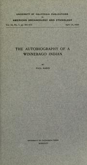 Cover of: The autobiography of a Winnebago Indian