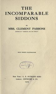 Cover of: The incomparable Siddons