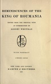 Cover of: Reminiscences of the King of Roumania