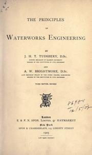 Cover of: The principles of waterworks engineering