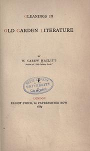 Cover of: Gleanings in old garden literature