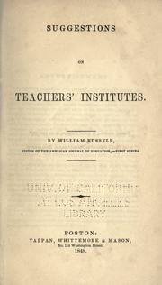 Cover of: Suggestions on teachers' institutes