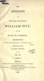 Cover of: Speeches in the House of Commons