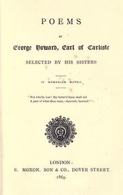 Cover of: Poems by George Howard, Earl of Carlisle