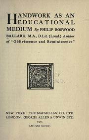 Cover of: Handwork as an educational medium
