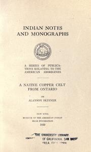 Cover of: A native copper celt from Ontario