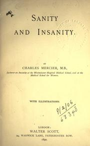Cover of: Sanity and insanity
