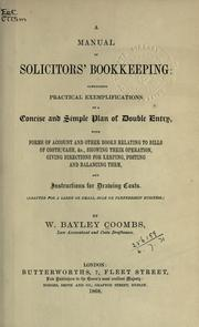Cover of: A manual of solicitors' bookkeeping