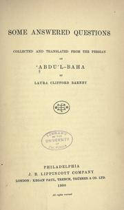 Cover of: Some answered questions | Abdul-Bahá