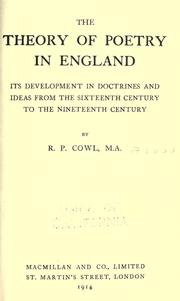 Cover of: The theory of poetry in England