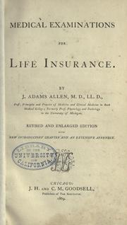 Cover of: Medical examinations for life insurance