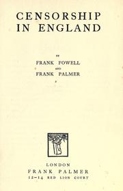 Censorship in England by Frank Fowell