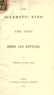 Cover of: On the sclerotic ring of the eyes of birds and reptiles