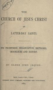 Cover of: The Church of Jesus Christ of Latter-Day Saints