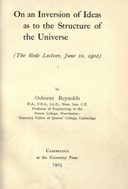 Cover of: On an inversion of ideas as to the structure of the universe