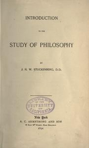 Cover of: Introduction to the study of philosophy