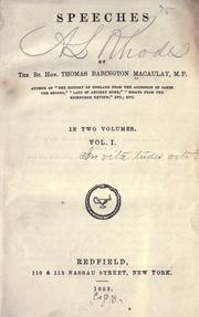 Speeches by Thomas Babington Macaulay