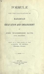 Cover of: Formulae for the calculation of railroad excavation and embankment