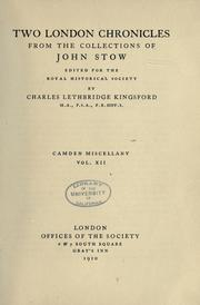Cover of: Two London Chronicles from the Collections of John Stow