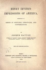 Cover of: Henry Irving's Impressions of North America