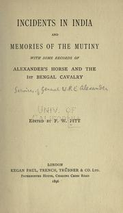 Cover of: Incidents in India and memories of the mutiny