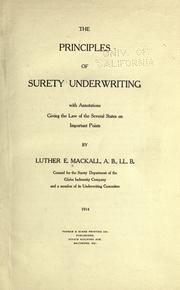 Cover of: The principles of surety underwriting
