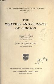 Cover of: The weather and climate of Chicago