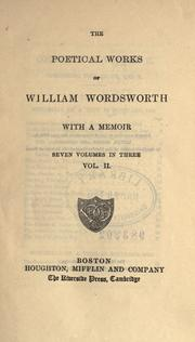 Cover of: Poetical works, with a memoir