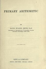 Cover of: Primary arithmetic by David Eugene Smith
