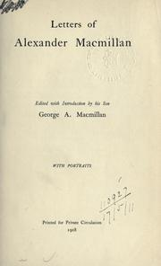 Cover of: Letters of Alexander Macmillan