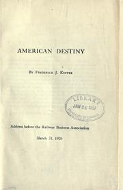 Cover of: American destiny