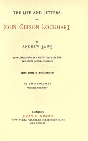 Cover of: The life and letters of John Gibson Lockhart