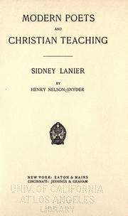 Cover of: Sidney Lanier