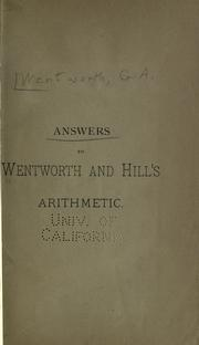 Cover of: Answers to Wentworth and Hill's Arithmetic