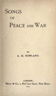 Cover of: Songs of peace and war