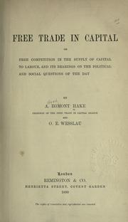 Cover of: Free trade in capital