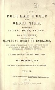 Cover of: Popular music of the olden time | W. Chappell