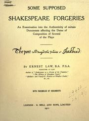 Cover of: Some supposed Shakespeare forgeries