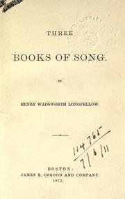 Cover of: Three books of song