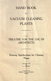 Cover of: Handbook on vacuum cleaning plants