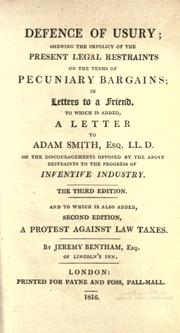 Defence of usury by Jeremy Bentham