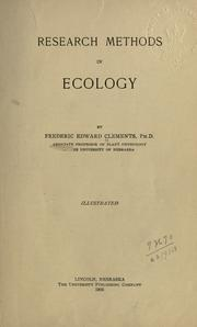 Cover of: Research methods in ecology. by Frederic E. Clements