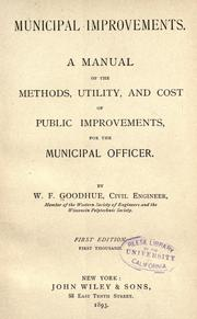 Cover of: Municipal improvements