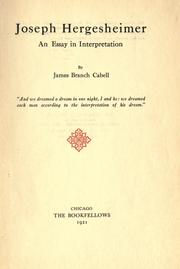 Cover of: Joseph Hergesheimer, an essay in interpretation