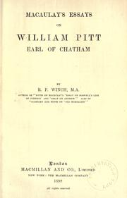 Cover of: Macaulay's Essays on William Pitt, Earl of Chatham